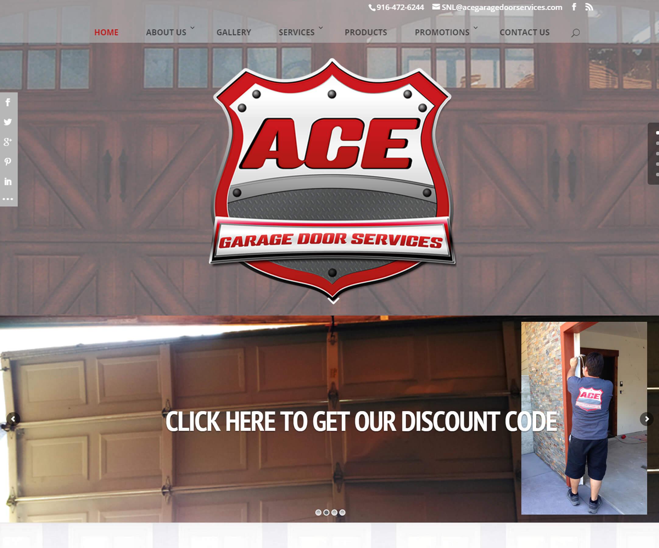 Ace Garage Doors website design by FossMG 02-2015