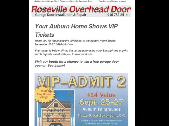 Roseville Overhead Door Auto-Responder Email Marketing