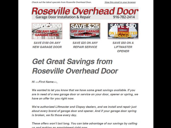 Roseville Overhead Door Email Marketing