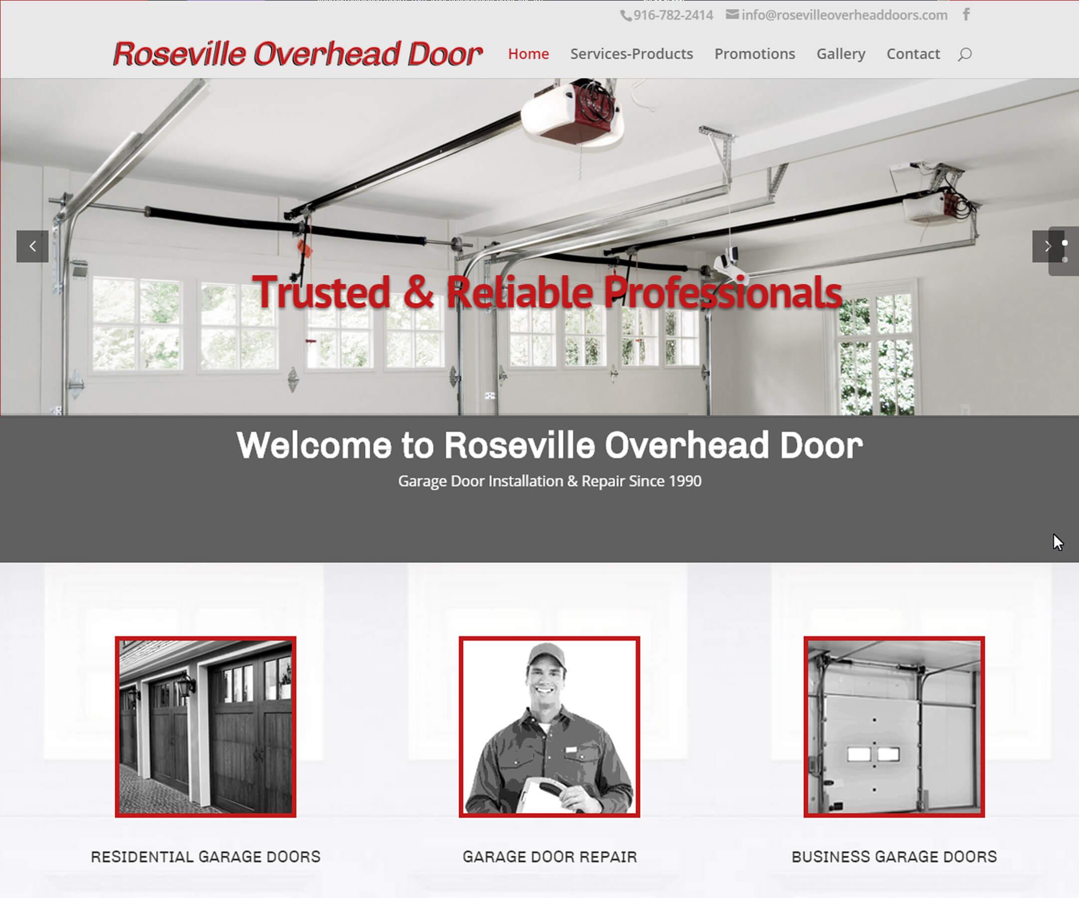 Roseville Overhead Doors website design by FossMG 02-2015