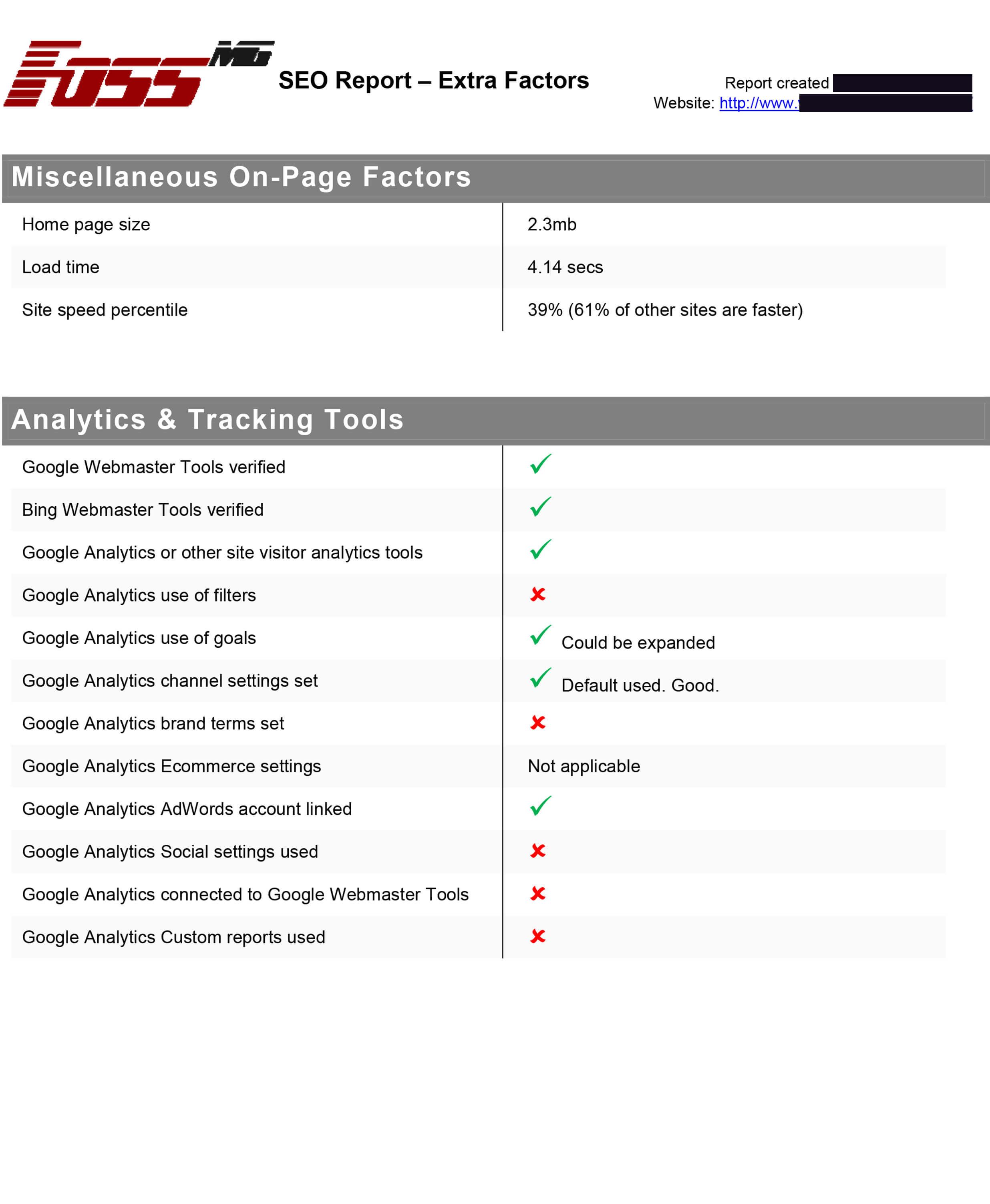 SEO Factors Report