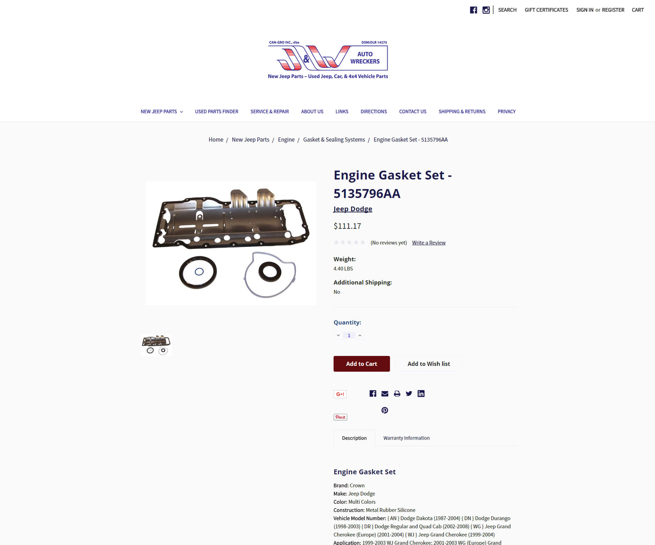 Shopping carts - ecommerce website design - ecommerce site deisgn - J&W Jeep - auto parts sales - Foss Marketing Group - Roseville - Sacramento