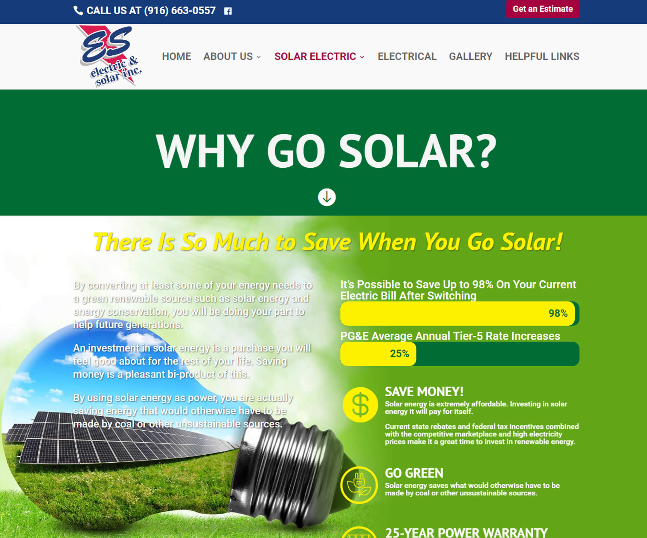 Website Design Business Websites ES Solar Installation 2 - Foss Marketing Group - Sacramento professional web design