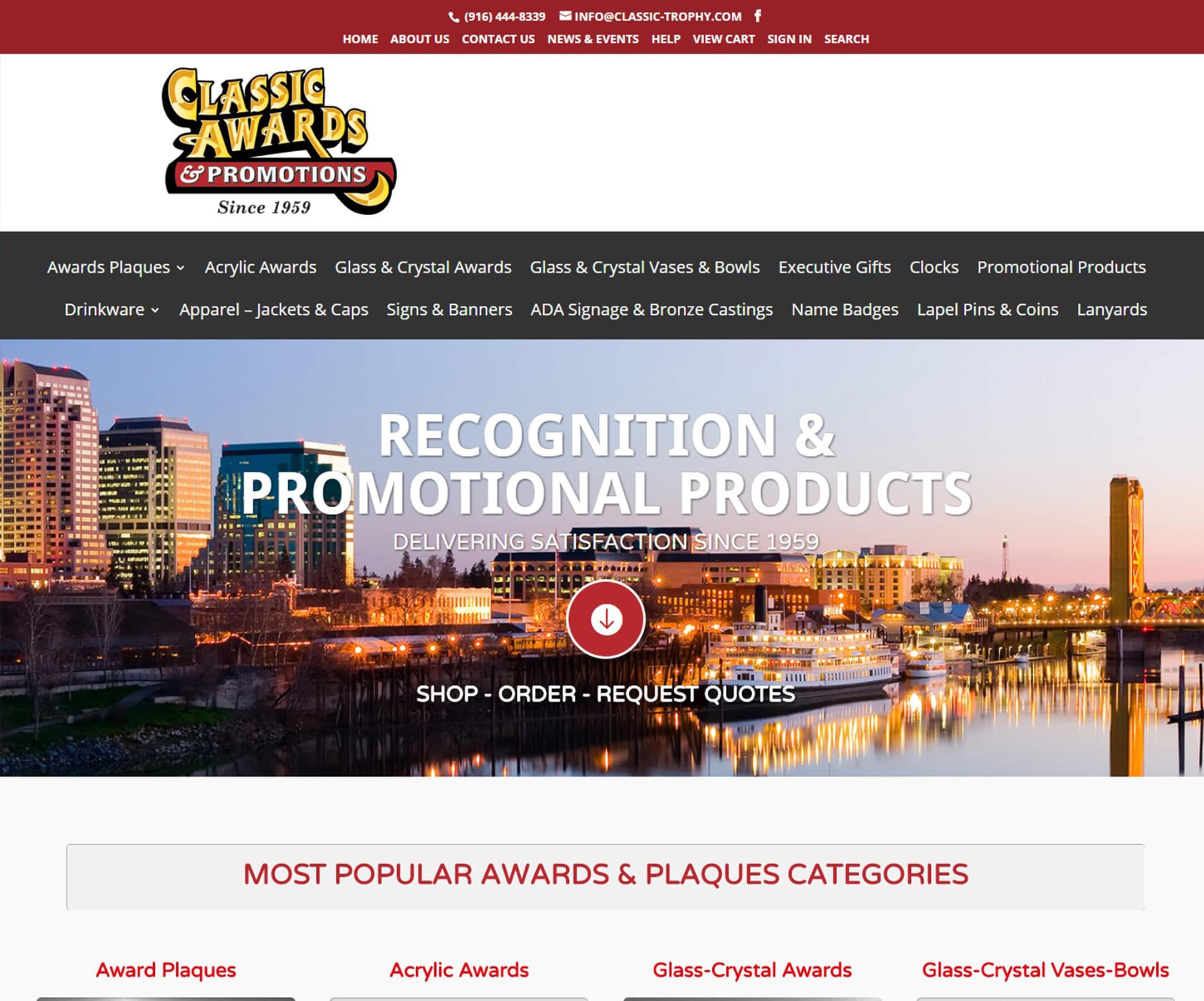 Website Design Business Websites CLASSIC AWARDS AND PROMOTIONS - Foss Marketing Group - Sacramento web design